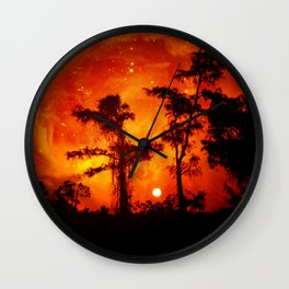 Fire in the Everglades Wall Clock