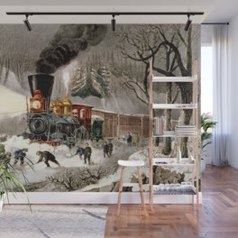 Snow Bound: Vintage Currier & Ives Railroad Scene Wall Mural