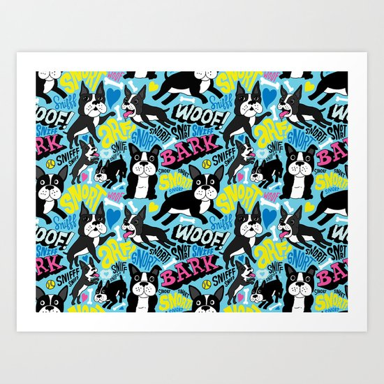 Boston Terrier Pattern Art Print