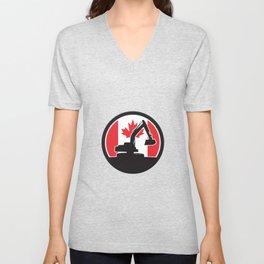 Canadian  Excavator Canada Flag Icon Unisex V-Neck