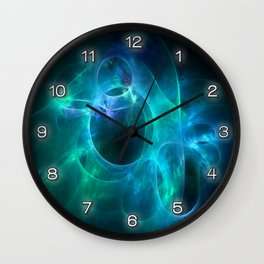 Aqua Blue and Green Circles 1 Wall Clock