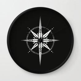 Compass Rose Illustration   White on Black Wall Clock