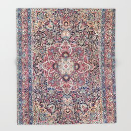 Kashan Central Persian Rug Print Throw Blanket