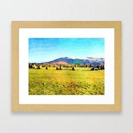Castlerigg Stone Circle, Keswick, Cumbria, England. Watercolor Painting Framed Art Print