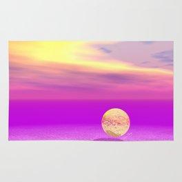 Adrift, Abstract Gold Violet Ocean Rug