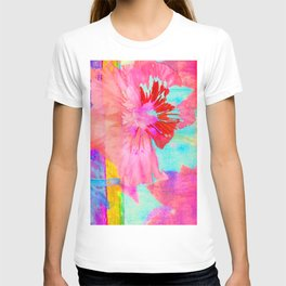 pink floral collage T-shirt