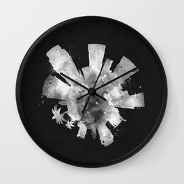 Los Angeles, California Black and White Skyround / Skyline Watercolor Painting (Inverted Version) Wall Clock