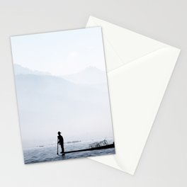 Fisherman in Myanmar Stationery Cards