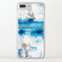 Blue Skies: a pretty, minimal abstract mixed-media piece in blue, white and gold Clear iPhone Case