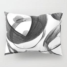 Modern abstract black white hand painted brushstrokes Pillow Sham