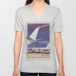 Israel 1977 vintage travel poster. Unisex V-Neck