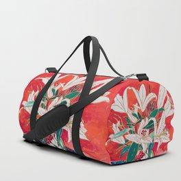 Blush Lily Bouquet on Orange Duffle Bag