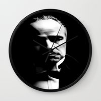 the godfather Wall Clocks featuring the godfather  by Fotis