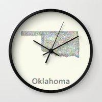 oklahoma Wall Clocks featuring Oklahoma map by David Zydd