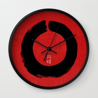 buddhism Wall Clocks featuring ENSO IN JAPAN by THE USUAL DESIGNERS