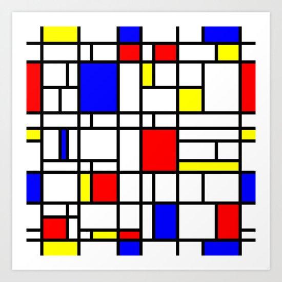 Modern Art Red Yellow Blue Grid Pattern Art Print