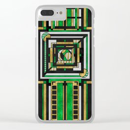 Tapestry: Emerald & Gold - Art Deco Drawing Clear iPhone Case