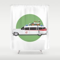 ghostbusters Shower Curtains featuring Ghostbusters HQ by Michael Walchalk