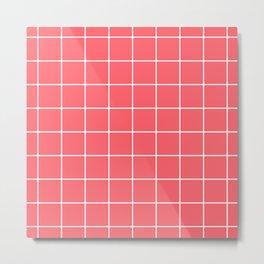 Coral Red Grid Metal Print