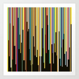Night's End - Abstract, Geometric Color Stripes Art Print