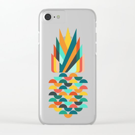 Groovy Pineapple Clear iPhone Case