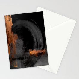 Black orange abstract Stationery Cards