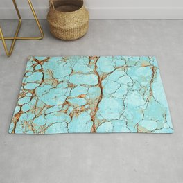 Cracked Turquoise & Rust Rug