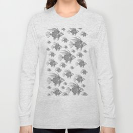 Grey fish - Linocut artwork Long Sleeve T-shirt