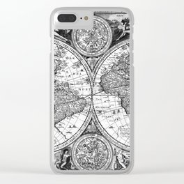 Black and White World Map (1651) Clear iPhone Case