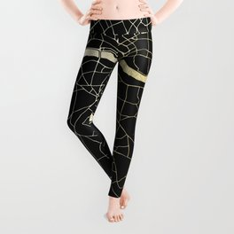 London Black on Gold Street Map Leggings
