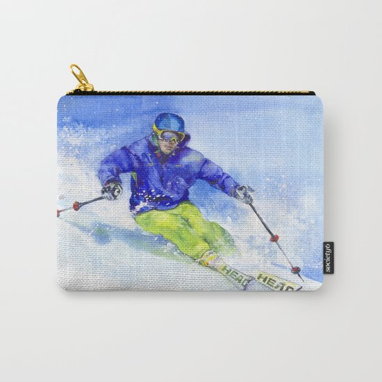 Watercolor skier, skiing illustration Carry-All Pouch