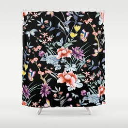 French Butterfly Black Shower Curtain