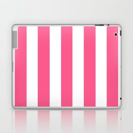 Strawberry iced tea pink - solid color - white vertical lines pattern Laptop & iPad Skin