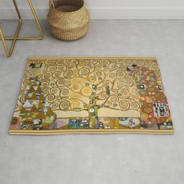 The Tree of Life with gold stripe by Gustav Klimt Rug