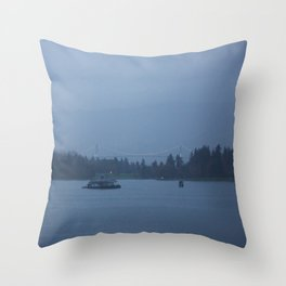 Foggy harbour Vancouver Throw Pillow
