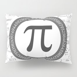 The Pi symbol mathematical constant irrational number, greek letter, and many formulas background Pillow Sham