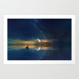 Sailboat in Space (Color) Art Print