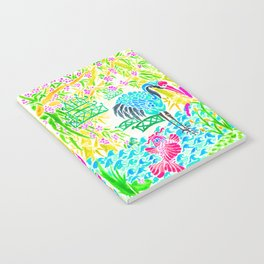 Asian Bamboo Garden in Sunset Watercolor Notebook