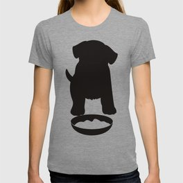 Puppy Dog Eating Food Silhouette T-shirt
