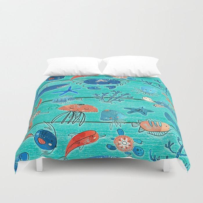 Blue & Orange Under the Sea Duvet Cover