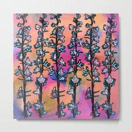 Blue Flower Stalk on Warm Bright Colors Metal Print