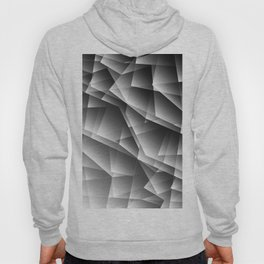 Exclusive monochrome pattern of chaotic black and white shards of glass, paper and ice floes. Hoody