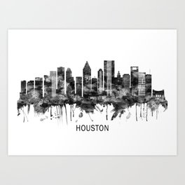 Houston Texas Skyline BW Art Print