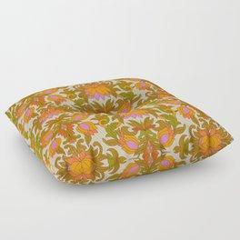 Orange, Pink Flowers and Green Leaves 1960s Retro Vintage Pattern Floor Pillow