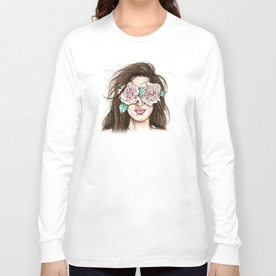 white roses in their eyes (female version) Long Sleeve T-shirt