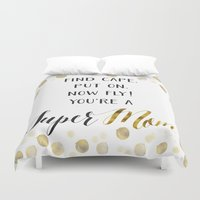 mom Duvet Covers featuring Super Mom by Seven Roses