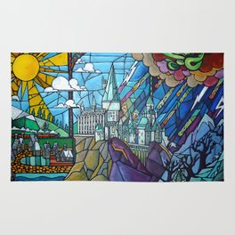 Hogwarts stained glass style Rug