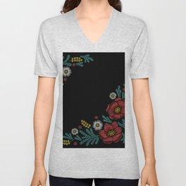 Embroidered Flowers on Black Corner 04 Unisex V-Neck