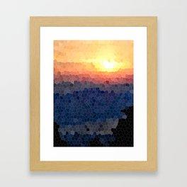 Stained-glass Effect Sunset Framed Art Print