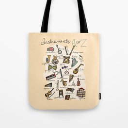 Instruments A to Z Tote Bag